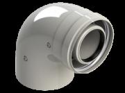 Коаксиальный дымоход Fondital Колено коаксальное 90С 100/60 мм