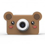 Детский цифровой фотоаппарат камера с силиконовым чехлом Медведь (Коричневый)
