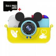 Детский цифровой фотоаппарат Микки Маус, 28 Мпикс с ударопрочным чехлом, шнурком+карта памяти 8 ГБ в подарок