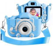 Детский фотоаппарат Котик голубой + подарок