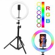 Кольцевая лампа цветная со штативом RGB (45 см)