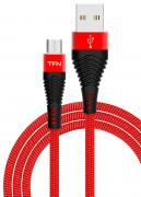 Дата-кабель TFN microUSB с защитой от излома Black/Red