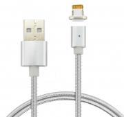 Магнитный кабель для Iphone Lightning DM-M12-I5 в тканевой оплетке (Серебристый)