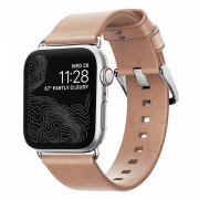 Ремешок Nomad Modern Slim для Apple Watch 38/40 мм Бежевый с серебряной фурнитурой