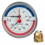 """STOUT Термоманометр аксиальный в комплекте с автоматическим запорным клапаном. Корпус Dn 80 мм 1/2"""" 0-4 бар 120С"""