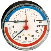 """CALEFFI Термоманометр аксиальный 1/2""""; ?80мм; 6 бар; 120°С"""