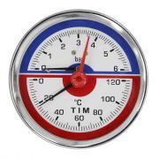 """Термоманометр аксиальный 10 бар, 0-120°c, 1/2"""" tim ис.161750"""