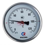 Термометр РОСМА (2539) 1/2 НР(ш) аксиальный d100 мм 120 °С шток 100х6 мм