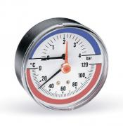 """Термоманометр аксиальный Watts F+R818 (1/2"""", 10 бар, 120°C, 80 мм.) 10009465"""