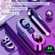 F9 Bluetooth 5.0 TWS 8D HIFI гарнитура Беспроводные наушники водонепроницаемый сенсорный контроль с 2000mAh Зарядка Дело