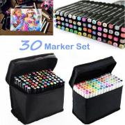 30 цветов искусства маркеры Pen Двойной Глава Маркеры Эскиз Установить акварель перо лайнеры для рисования студенческая ручка