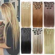24 дюймовые расширения волос 60см Натуральные волосы Прямо синтетический клип в парик extentions волос