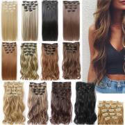 Повелительницы 16 Клипсы Шиньон парик косплей длинные вьющиеся/прямые волосы расширение