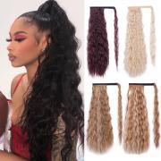 Клип в расширение волос для женщин Синтетические Обернуть вокруг волшебной пасты Яки Конский хвост кукурузной волны