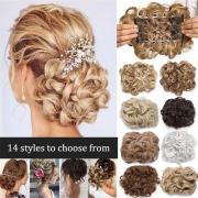 Женщины Элегантные красоты волос Булочка Шиньон Пластиковые гребни волна Curly Синтетические волосы Легкое использование
