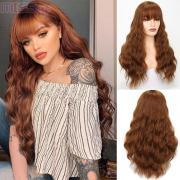 Женский теплостойкий парик из длинных волнистых синтетических волос с прямой челкой