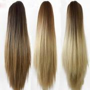 Женщины мода коготь клип хвост длинные прямые волосы расширений парик Шиньон