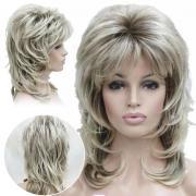 Маньи женщины дамы средний кудрявые светлые волосы ежедневно синтетических полный Парики для косплея