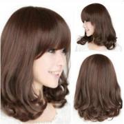 Женская мода жаропрочных длинными вьющимися парик косплей костюм полный Парики волос