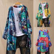 ЗАНЗЕА Мода Случайные Свободные рукава красочные цветочные топы Рубашка Кнопки Туника Блузка для женщин