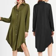 2018 женщины случайный длинные платья мода стоять воротник T рубашка потерять подходят короткие платья топы
