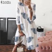 4 Цвета ЗАНЗЕА женщин моды случайный 3/4 рукав Печатные Пляжное платье Holiday Midi Туника платья