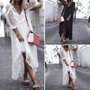 Летние женщины V шеи Длинные рукава Увидеть через случайные свободные кружева Maxi платье Плюс Размер пляжное платье