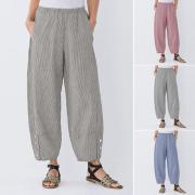 ЗАНЗЕА Мода женщины случайные полосатые широкие ноги Брюки Карманы Baggy Loose Длинные брюки S-5XL