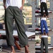 ЗАНЗЕА Мода женщин упругие Waist Карманы Твердые брюки случайные свободные длинные брюки Patanlon S-5XL