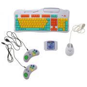 Игровая консоль Dendy Магистр Репетитор серебристый (+Кабель AV, Джойстик 8-bit 9р- 2шт, Обучающий Картридж 8-bit, мышь)