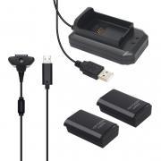 ХBOX 360 Play & Charge Kit (Dual 5 в 1) Черная (Зарядное устройство,зарядный кабель,2 аккумулятора)