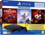 Sony PlayStation 4 Slim (1 Тб) (Черная) (CUH-2208B) + Marvel Человек-паук, GT Sport, Horizon