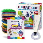 Набор для 3D рисования Funtastique 3D-ручка CLEO (Белый) с подставкой PLA-пластик 20 цветов Книжка с трафаретами 4-1-FPN04W-PLA-20-SB