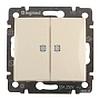 переключатель (проходной выключатель) двухклавишный с подсветкой Legrand Valena Кремовый - LN-774112