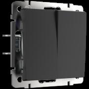Выключатель Werkel Черный матовый WL08-SW-2G-2W/Выключатель двухклавишный проходной (черный матовый)