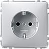 Розетка 1-ая с заземлением с защитными шторками безвинт зажим алюминий, Merten SD - SCMTN2300-4060
