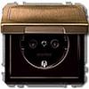 Розетка 1-ая с заземлением с защитными шторками с крышкой безвинт зажим Античная латунь, Merten SD - SCMTN2310-4143