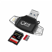 Card Reader 4 in 1 Standard USB+Lightning+Type-C+Micro USB (Черный)
