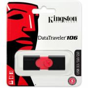 KINGSTON USB 3.1/3.0/2.0 32GB DataTraveler DT106 черный с красным BL1