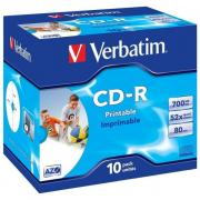 Диск CD-R Verbatim 700 Mb, 52x, Jewel Case (10), DL+, Printable (10/100) (43325)