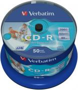Диск CD-R Verbatim 700Mb 52x AZO Wide Inkjet Printable (50шт) (43438)