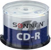 Компакт диски CD-R Sonnen объемом 700Mb, скорость 52x, комплект/набор из 50 шт