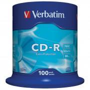 Диск CD-R Verbatim 700Mb 52x DataLife Cake Box, 100 шт (43411)