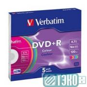 Диск DVD+R Verbatim 4.7Gb 16х, Colour (Slim Case, 5шт.) (43556)