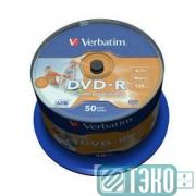 Диск DVD-R 4.7Gb 16х, Wide Photo InkJet Printable, 50шт, Cake Box (43533/43649) Verbatim