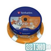 Диск DVD-R Verbatim 4,7Gb 16x Cake Box Printable (25шт) (43538)