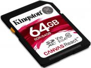 Карта памяти 64GB Kingston SDR/64GB SDXC Canvas React 100R/80W CL10 UHS-I U3 V30 A1