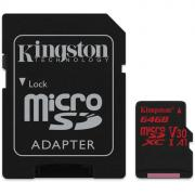 Флеш-карта 64Гб Kingston Canvas React SDHC Class 10 UHS-I U3 ( SDCR/64GB) SD адаптер