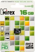 Карта памяти MicroSDHC Mirex 16Gb Class 10 с адаптером Black