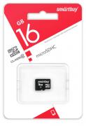 Карта памяти microSD Smartbuy 16GB Class10 10 МБ/сек без адаптера